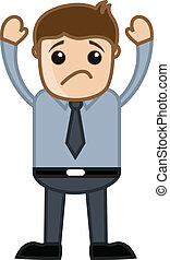 Drawing Art of Young Cartoon Businessman Scared and Sad Vector Illustration
