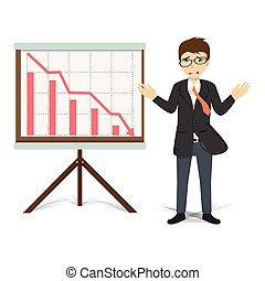 Unhappy businessman present descending business vector...