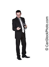 Unhappy Businessman with a glass of drink and a smoke -...