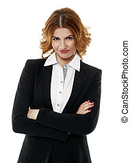Unhappy businesswoman on white