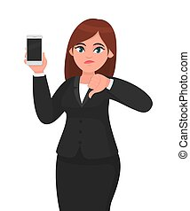 Unhappy businesswoman showing blank screen mobile, cell or smart phone and gesturing or making thumbs down sign. Dislike, no deal, bad, negative and technology concept illustration in cartoon.