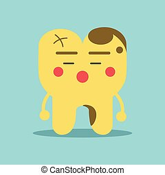 Unhappy cartoon tooth character with decay problems, dental vector Illustration for kids