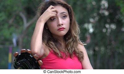 Unhappy Confused Hispanic Woman