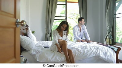 Unhappy Couple Having Problem In Bed, Serious Man And Woman...