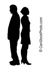 Unhappy couple with relationship problems standing back to back. Isolated white background. EPS file available.