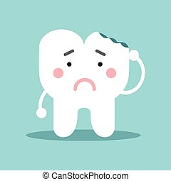 Unhappy cute cartoon tooth character with with dental caries, dental vector Illustration for kids