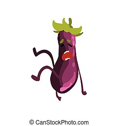 Unhappy Eggplant Vegetable Character with Funny Face Vector Illustration