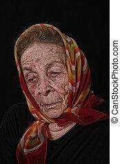 Elderly Old Woman on Black Background - Unhappy Elderly Old ...