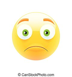 Unhappy Emoji with Green Eyes. Unhappy Emoticon. Smile icon....