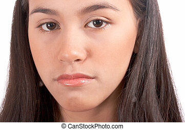 unhappy face of a beautiful young lady