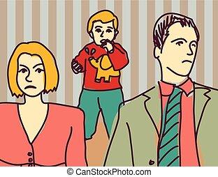 Unhappy family quarrel parents divorce couple sad child