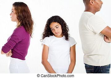 unhappy family - unhappy girl standing between divorcing...