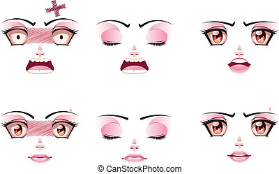 Unhappy Female Face - Set of unhappy facial expression of...