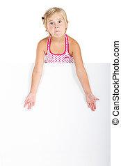 unhappy girl behind white board