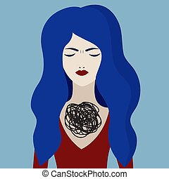 Unhappy girl, borderline personality disorder, sad woman with psychological problems. Vector character
