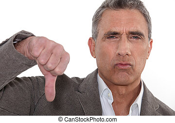 Unhappy grey-haired man