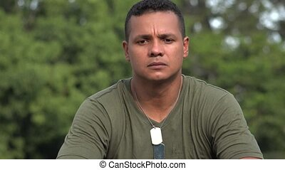 Unhappy Hispanic Male Soldier
