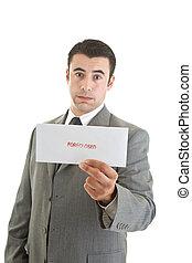 Unhappy Hispanic Man Suit Holding Foreclosure Notice White...