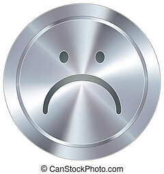 Unhappy icon on industrial button - Frown or sad face icon...