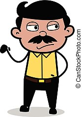 Unhappy - Indian Cartoon Man Father Vector Illustration