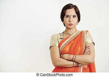 Unhappy Indian woman