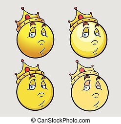 Unhappy King Smiley Set