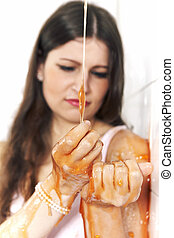 Unhappy lady dipped in slime - Young woman playing with ...