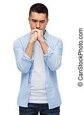 unhappy man thinking - sadness, problem, sorrow and people...