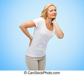 unhappy middle aged woman suffering from backache