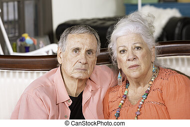 Unhappy or Upset Senior Man and Woman