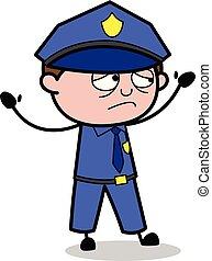 Unhappy - Retro Cop Policeman Vector Illustration