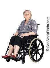 Unhappy senior woman in wheelchair