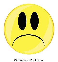 Unhappy Smile Face Button Isolated