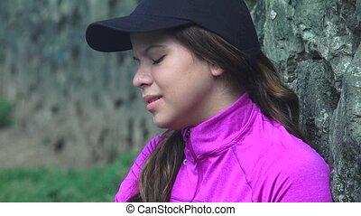 Unhappy Teen Girl Crying