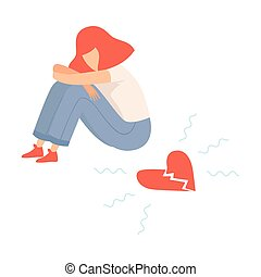 Unhappy Teen Girl with Broken Heart, Teenager Puberty Problem Vector Illustration