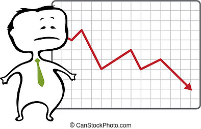unhappy trader and a drop chart with falling red arrow - vector illustration in cartoon style - The document can be scaled to any size without loss of quality.