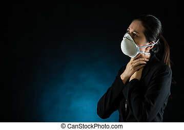 unhappy woman feel sick wearing a face mask
