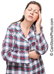 Unhappy woman in pajamas with a severe headache, on a white background
