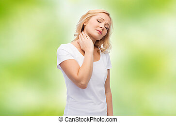 unhappy woman suffering from neck pain