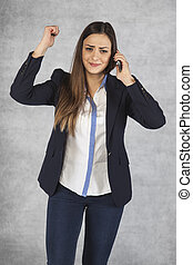 unhappy woman talking to a call center
