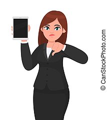 Unhappy young business woman showing or holding a brand new digital tablet computer and making or gesturing thumbs down sign. Female character design illustration. Modern lifestyle, technology.