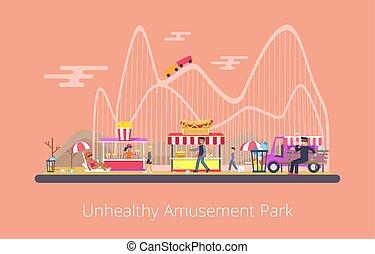 Unhealthy Amusement Park, Vector Illustration