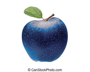 Unhealthy blue apple isolated