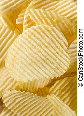 Unhealthy Crinkle Cut Potato Chips Ready to Eat