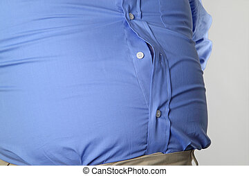 Detail from overweight man and his waist.