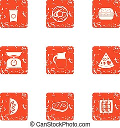 Unhealthy diet icons set, grunge style - Unhealthy diet...