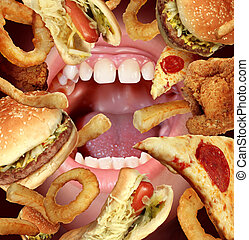 Unhealthy Eating and struggling to follow a healthy diet health concept by the temptations of fried fast food as a hamburger hot dog french fries onion rings pizza with an opened hungry mouth.