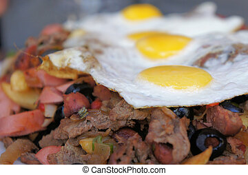 Unhealthy Fatty Food - Fatty and unhealthy Chilean dish...