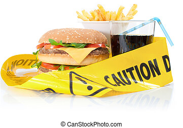 Unhealthy food caution - Caution tape wrapped around a...