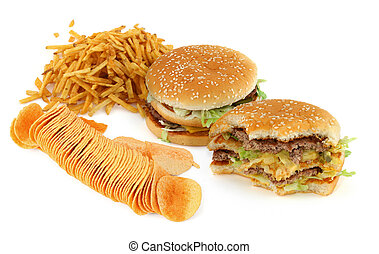 unhealthy food composition against white background